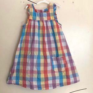 Pink Chicken Girls Rainbow Plaid Dress, Sz 6 Y